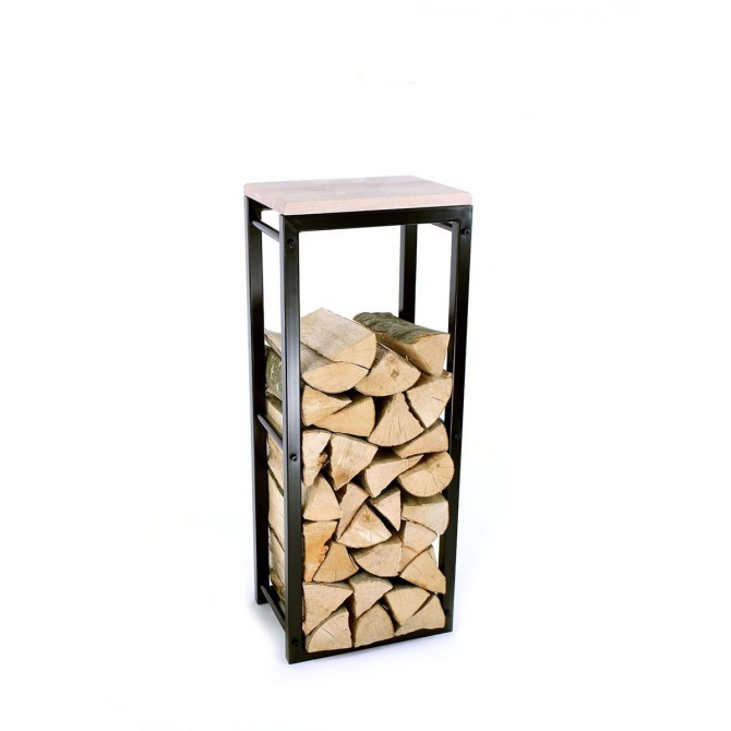 Firewood Rack: Tower 95 Basic with a wooden top shelf
