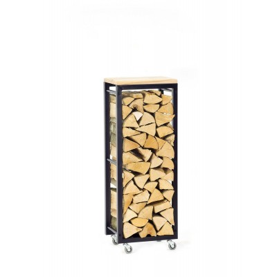 Firewood Rack Tower 95 Basic on wheels with a wooden top shelf