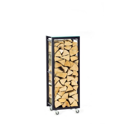 Firewood Rack Tower 95 Basic on wheels with a clear glass top shelf