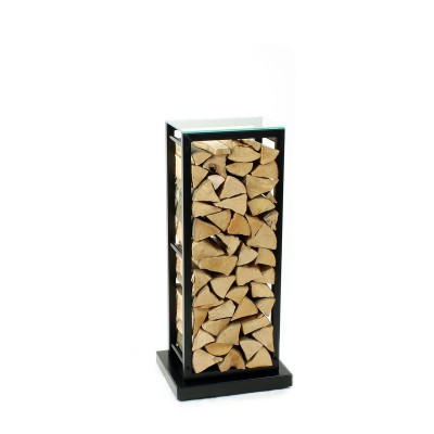 Firewood Rack: Tower 95 Basic on hidden wheels with a clear glass top shelf