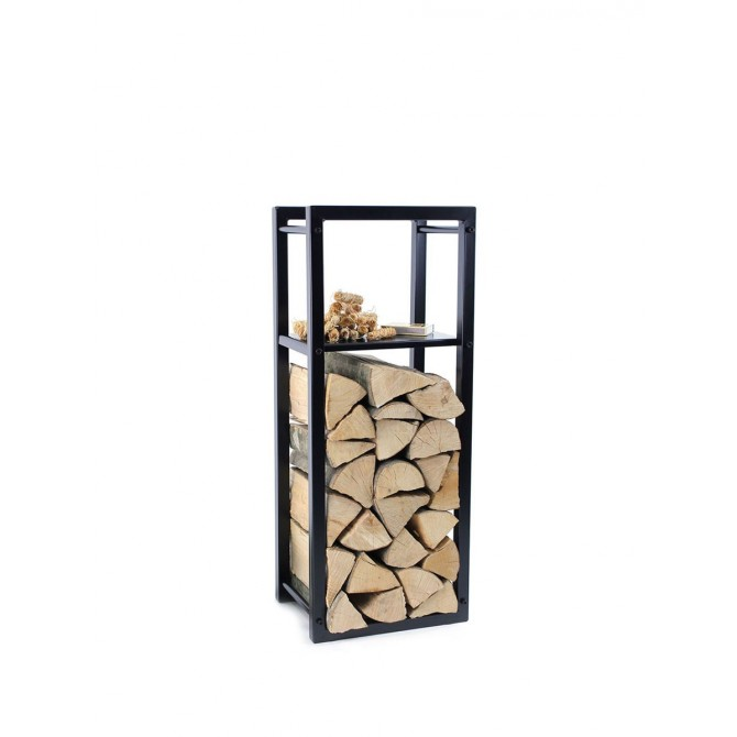 Firewood Rack: Tower 95 Basic with a shelf for fire starters