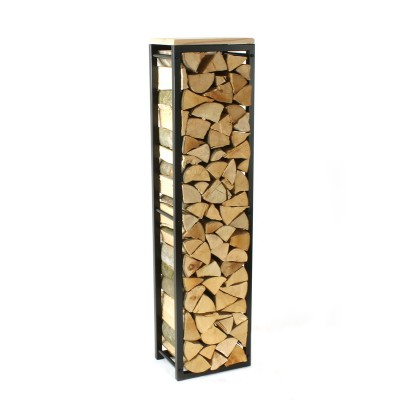 Firewood Rack: Tower 150 Basic with a wooden top shelf