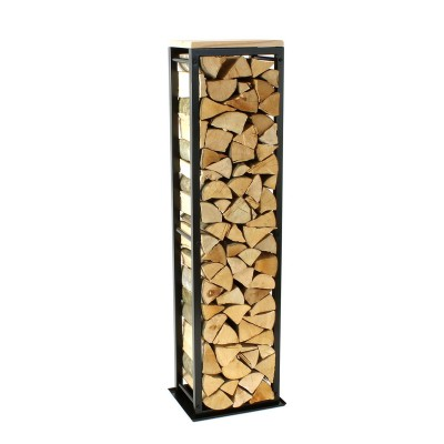 Firewood Rack: Tower 150 Basic with a tin debris tray and a wooden top shelf