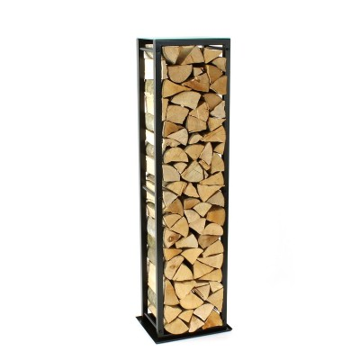 Firewood Rack: Tower 150 Basic with a tin debris tray and a frosted glass top shelf