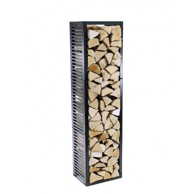 Firewood Rack Tower 150 Basic with stripped sideboards