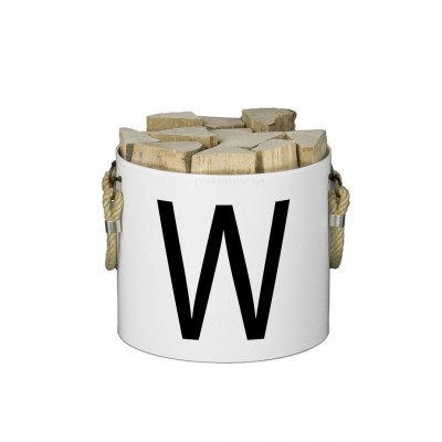 Basket of Wood: Basket with two handles (White) - Letters