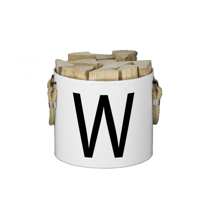 Bucket: Basket with two handles (White) - Letters