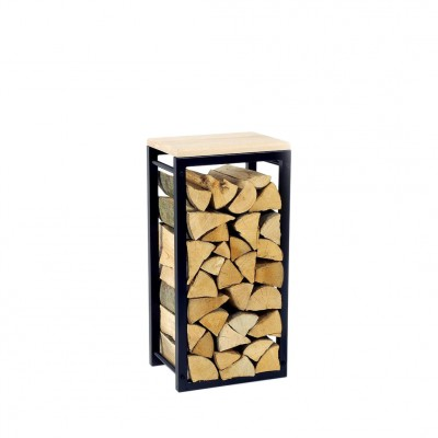 Firewood Rack: Tower 75 with a wooden top shelf