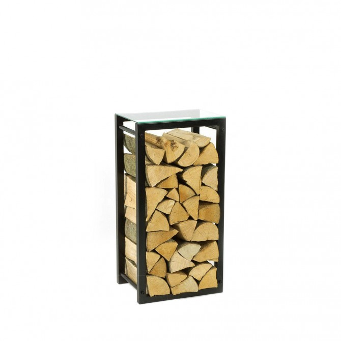 Firewood Rack: Tower 75 with a clear glass top shelf""
