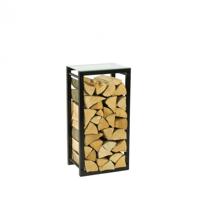 Firewood Rack: Tower 75 with a frosted glass top shelf""