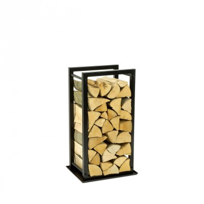 Firewood Rack: Tower 75 with a tin debris tray""