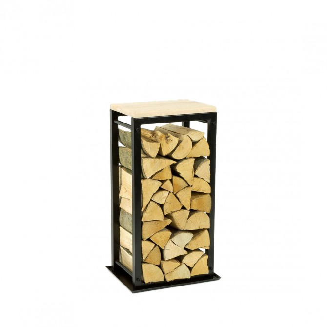 Firewood Rack: Tower 75 with a tin debris tray and a wooden top shelf""