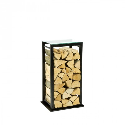 Firewood Rack: Tower 75 with a tin debris tray and a clear glass top shelf""