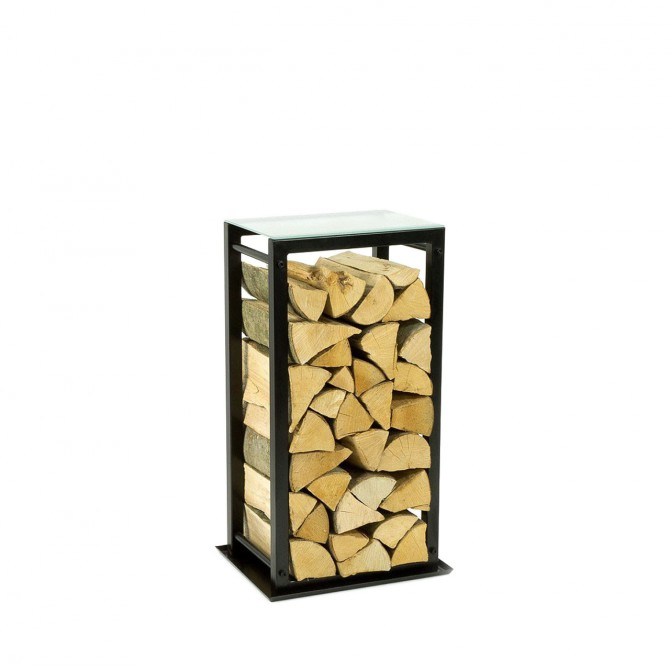 Firewood Rack: Tower 75 with washer dirt and the frosted glass top shelf ""