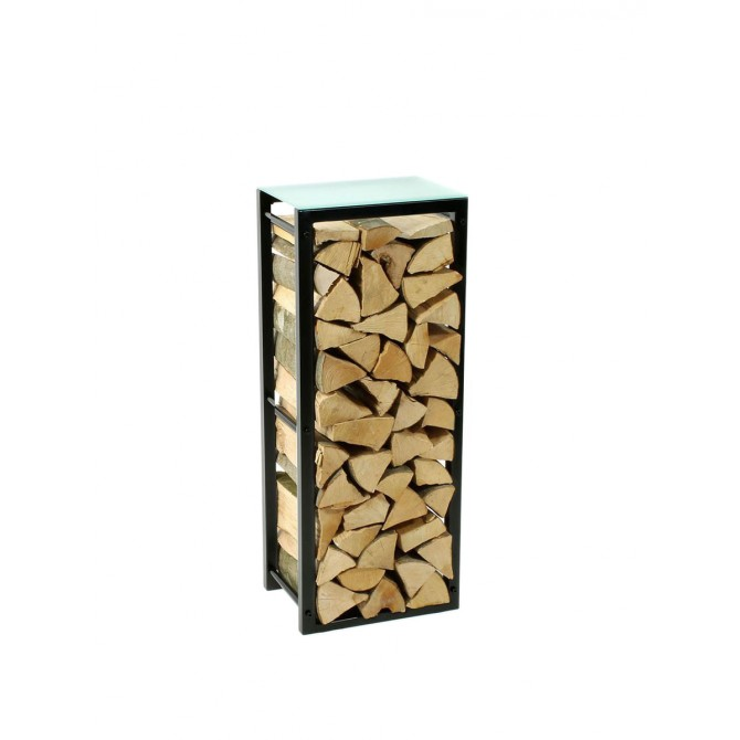 Firewood Rack: Tower 95 Basic with a frosted glass top shelf