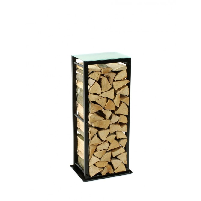 Firewood Rack Tower 95 Basic with a tin debris tray and a frosted glass top shelf