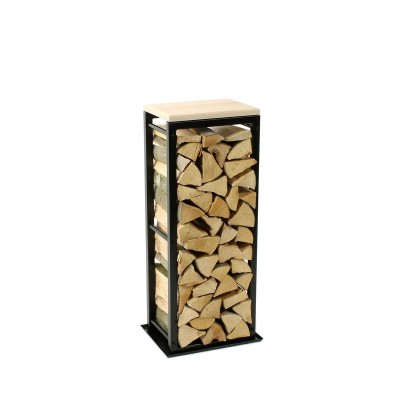 Firewood Rack Tower 95 Basic with a tin debris tray and a wooden top shelf
