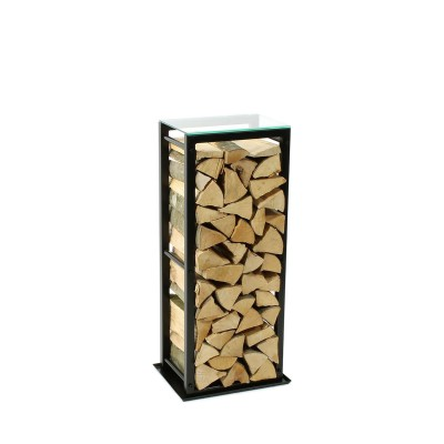 Firewood Rack Tower 95 Basic with a tin debris tray and a clear glass top shelf