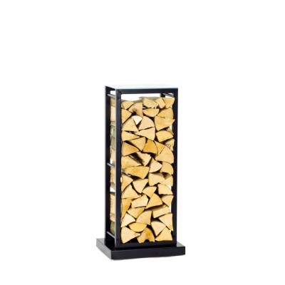 Firewood Rack Tower 95 Basic on hidden wheels with a frosted glass top shelf