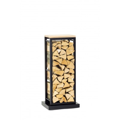 Firewood Rack Tower 95 Basic on hidden wheels with a wooden top shelf