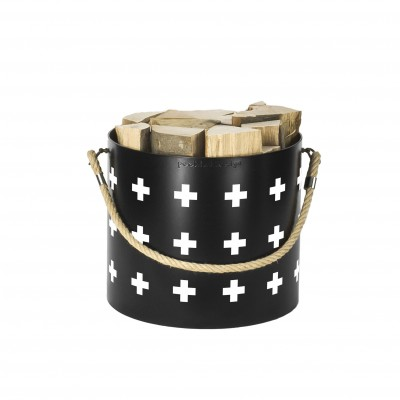 Bucket: Basket with one handle Nordic Cross (Black)