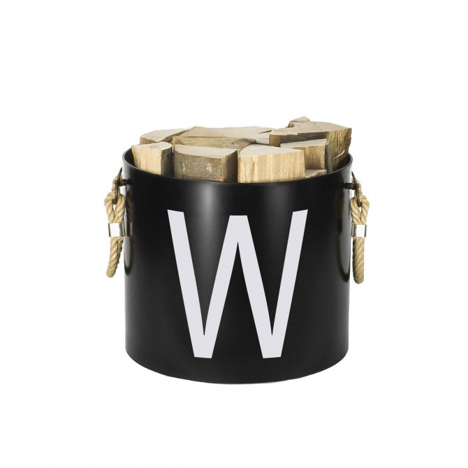 Bucket: Basket with two handles (Black) - Letters