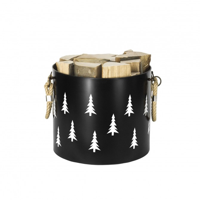 Bucket: Basket with two handles Nordic Tree (Black)