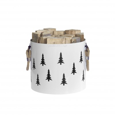 Basket of wood: Basket with two handles Nordic Tree (White)