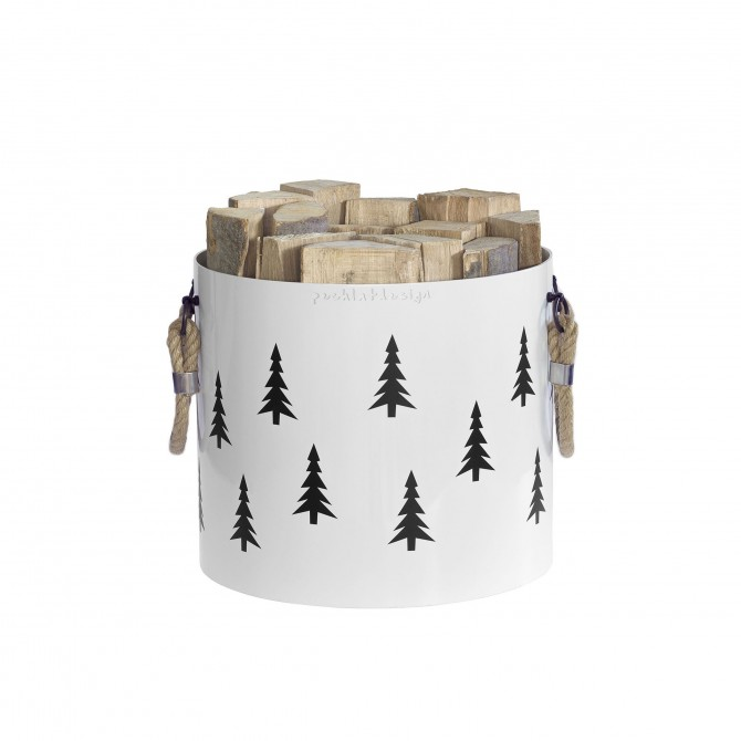 Bucket: Basket with two handles Nordic Tree (White)