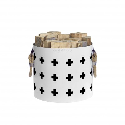 Basket of wood: Basket with two handles Nordic Cross (White)