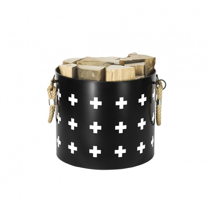 Bucket: Basket with two handles Nordic Cross (Black)