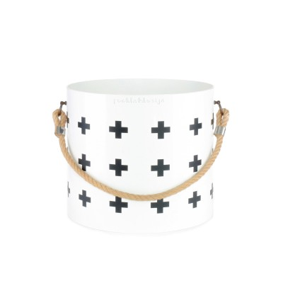 Bucket: Basket with one handle Nordic Cross (White)