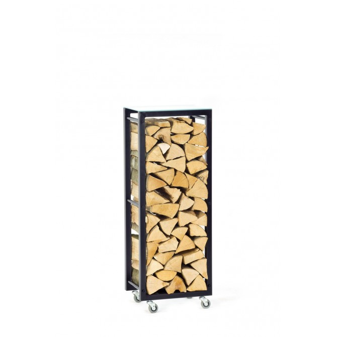 Firewood Rack Tower 95 Basic on wheels with a frosted glass top shelf